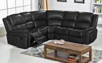 Bel Air Leathaire 5 Seat Recliner Corner Sofa in Black