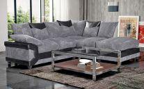 Dino Fabric Right-Side 5 Seat Corner Sofa in Black & Grey