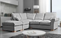 Hugo Fabric Left-Side 5 Seat Corner Sofa with Footstool in Silver