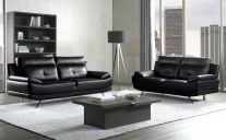 Islington Leathaire 5 Seat Sofa Set in Black