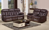 Somerton Leathaire 5 Seat Recliner Sofa Set in Brown