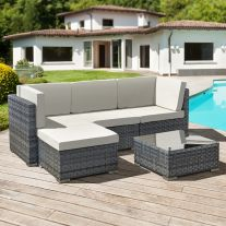 Trinidad Rattan 4 Seat Modular Chaise Lounge Set in Ocean Grey