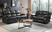 Valencia Leather 5 Seat Recliner Sofa Set in Black
