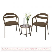 La Vida Aluminium 2 Seater Tea for Two Set in Coffee with Apollo Table (No Cushions)