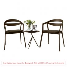 La Vida Aluminium 2 Seater Tea for Two Set in Coffee with Explorer Table (No Cushions)
