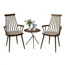 Royal Aluminium 2 Seater Tea for Two Set in Coffee with Khaki Cushions & Explorer Table