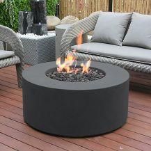 Venice GFR Concrete Round Fire Table in Black