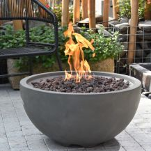 Nantucket GFR Concrete Round Fire Bowl in Dark Grey