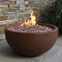 Jefferson GFR Concrete Round Fire Bowl in Rust Brown