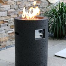 Lava Tube GFR Concrete Round Fire Pit in Black Lava
