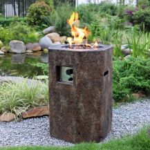 Basalt Column GFR Concrete Round Fire Pit in Basalt Brown