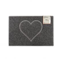 Heart Small Embossed Doormat in Grey with Open Back