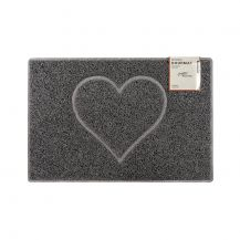 Heart Medium Embossed Doormat in Grey with Open Back