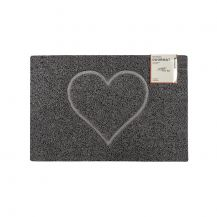Heart Small Embossed Doormat in Grey with Open Edge and Back