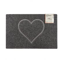 Heart Large Embossed Doormat in Grey with Open Edge and Back