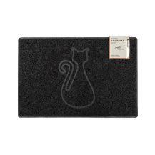 Cat Medium Embossed Doormat in Black