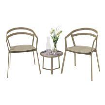 La Seine Aluminium & Textilene 2 Seater Tea for Two Set in Light Taupe with Khaki Sling & Apollo Table