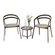 La Seine Aluminium & Textilene 2 Seater Tea for Two Set in Coffee with Khaki Sling & Apollo Table