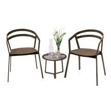 La Seine Aluminium & Textilene 2 Seater Tea for Two Set in Coffee with Coffee Sling & Apollo Table