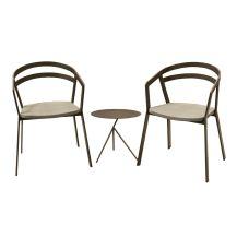 La Seine Aluminium & Textilene 2 Seater Tea for Two Set in Coffee with Khaki Sling & Explorer Table