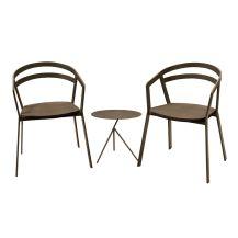 La Seine Aluminium & Textilene 2 Seater Tea for Two Set in Coffee with Coffee Sling & Explorer Table