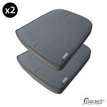Cozy Bay Eden Fabric Seat Pad (Set of 2) in Grey