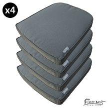 Cozy Bay Eden Fabric Seat Pad (Set of 4) in Grey