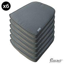 Cozy Bay Eden Fabric Seat Pad (Set of 6) in Grey