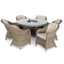 Winchester 6 Seat Round Dining Set with Rounded Chairs with Ice Bucket & Lazy Susan in Natural