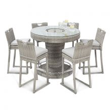 Oxford 6 Seat Round Bar Set with Ice Bucket in Light Grey