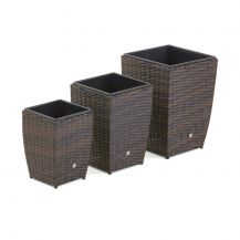 Set of 3 Shaped Planters in Brown