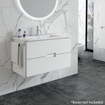 Adele Vanity Unit Basin Storage   60cm Floating 2 Drawer Basin Unit in White