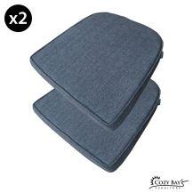 Cozy Bay Panama Fabric Seat Pad (Set of 2) in Navy Grey