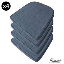 Cozy Bay Panama Fabric Seat Pad (Set of 4) in Navy Grey
