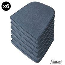 Cozy Bay Panama Fabric Seat Pad (Set of 6) in Navy Grey