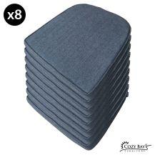 Cozy Bay Panama Fabric Seat Pad (Set of 8) in Navy Grey