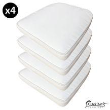 Cozy Bay Panama Fabric Seat Pad (Set of 4) in Creamy White