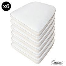 Cozy Bay Panama Fabric Seat Pad (Set of 6) in Creamy White