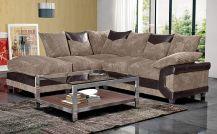 Dino Fabric Left-Side 5 Seat Corner Sofa in Brown & Coffee