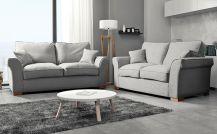Hugo Fabric 5 Seat Sofa Set in Silver