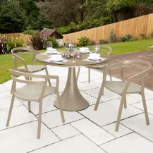 La Seine Aluminium & Textilene 4 Seater Dining Set in Light Taupe with Khaki Sling & Matte Cappuccino Glass