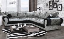 Milan Crushed Velvet 5 Seat Corner Sofa in Black & Silver