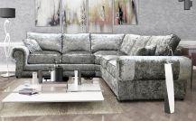Milan Crushed Velvet 5 Seat Corner Sofa in Silver
