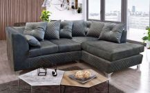 Royale Velvet Right-Side 4 Seat Corner Sofa in Grey