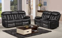 Somerton Leathaire 5 Seat Recliner Sofa Set in Black