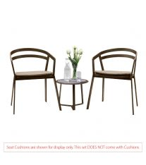 La Seine Aluminium 2 Seater Tea for Two Set in Coffee with Apollo Table (No Cushions)