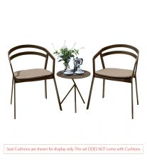 La Seine Aluminium 2 Seater Tea for Two Set in Coffee with Explorer Table (No Cushions)