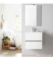 Alba 60cm 2 Drawer Basin Unit in Gloss White