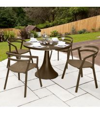 La Seine Aluminium & Textilene 4 Seater Dining Set in Coffee with Coffee Sling & Matte Coffee Glass