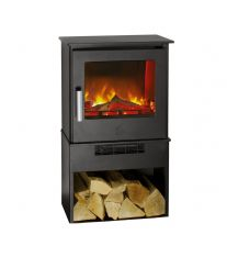 Malvern Deluxe 2kw Holographic Electric Stove with Logstore Base in Black